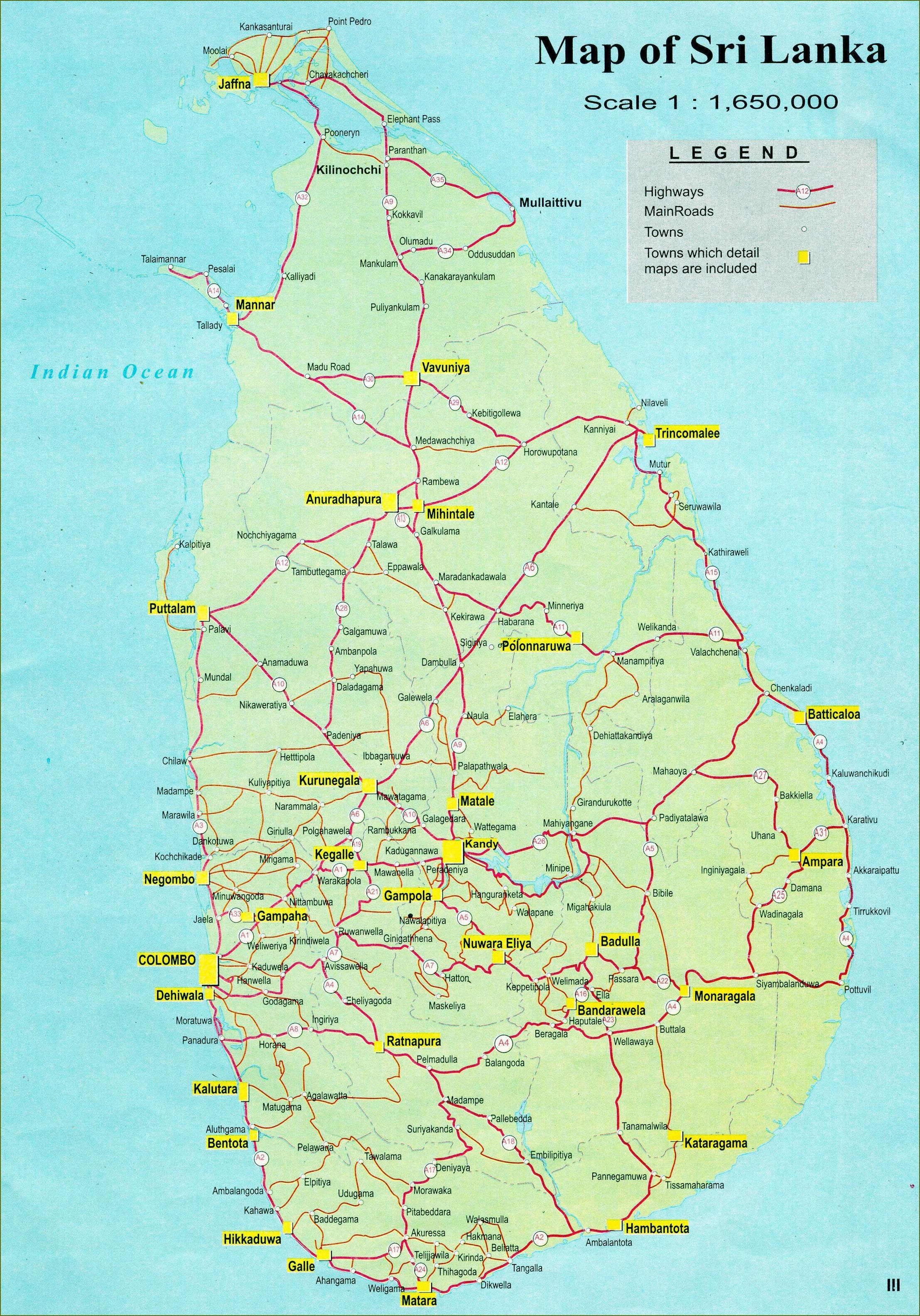Sri Lanka Road Map Distanta Harta Din Sri Lanka Asia De Sud Asia